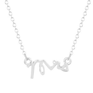 Jewelry - Mrs Script Text Pendant Silver Necklace